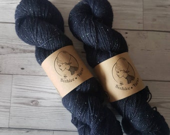 Lady Midnight ~ Barbarella ~ Merino Nylon Stellina Sock Yarn