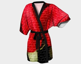 Red Robe/Brick Red Robe/Kimono Robe/Getting Ready Robe/Short Kimono/Swimsuit Cover Up/Kimono Cover Up/Beach Cover Up/Made to Order