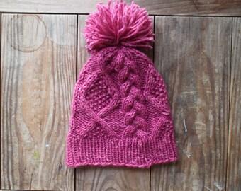 Cable Knit Wool Beanie with Pom-Pom