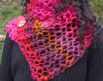 a gorgeous pink or blue trendy scarf knitted by hand