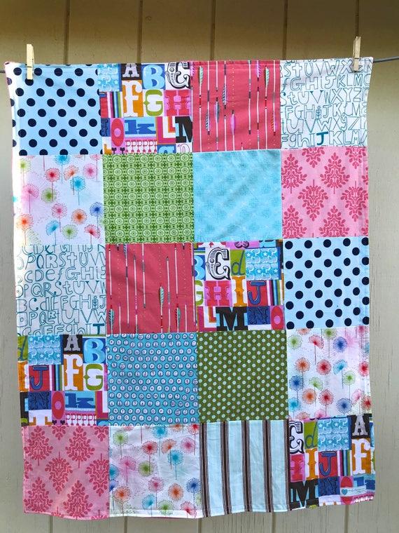 32x40 Letterpress Baby Girl Blanket Ready to Ship