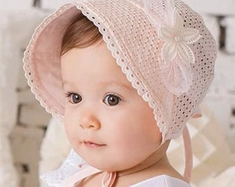 Beanie Baby baptism bonnet pink pale embroidery baptism traditional Hat baby, baptism accessory, girl christening Bonnet lace