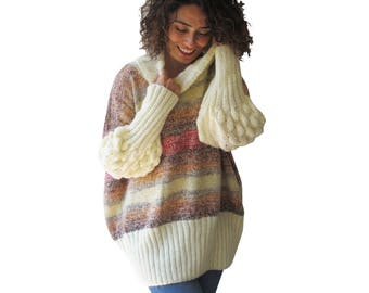 Hand Knitted Sweater / Long Sleeve Popcorn Knit Sweater / Plus Size Sweater / Oversized Sweater