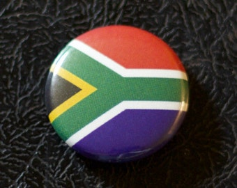 "1"" South Africa flag button, country, pin, badge, pinback, Made in USA"
