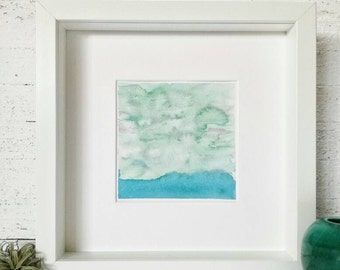 Original abstract watercolor in green shades of an abstract and minimalist seascape 5x5 inches // NO FRAME