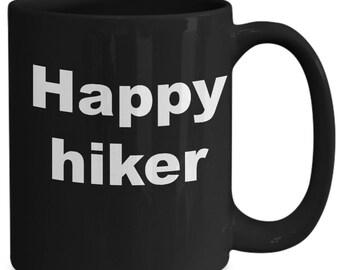 Happy Hiker -Black Mug,  Mug For Hikers, Mug For Outdoors, Gift For Hikers,