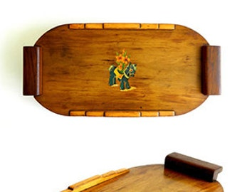 Handmade wood serving tray w/ horse decal shop project one of a kind various woods - maple cherry pine deco design farmhouse vintage c 1930s