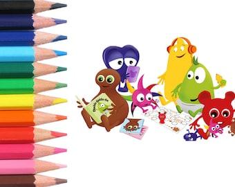 Babblarna. Babba, Bibbi, Bobbo, Dadda, Doddo, Diddi - Färgläggning för barn - Målarbilder för barn - colouring page
