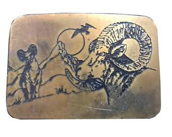 Vintage Bighorn Ram Belt Buckle - Sunrise - Brass 1970s - Animal - Horns - Hunting - Mountain Goat - Animal - Fathers Day Gift Idea