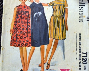 Vintage 1960's  Sewing Pattern McCall's 7120 Misses' Dress   Bust 30-31 inches 60's Fashion