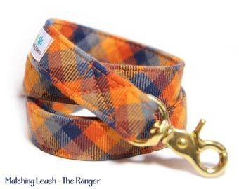 Orange Plaid Dog Leash, Orange and Blue Tartan - The Ranger