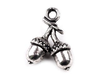 Charm pendant 10 silver Acorn charm 2 x 13 mm