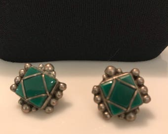 Vintage Mexican Silver Green Onyx Earrings Jewelry