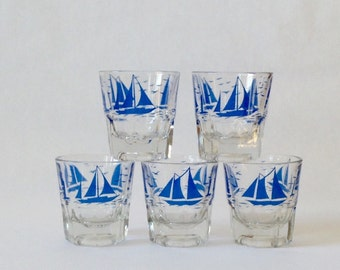 Sailboat Old Fashion Glasses, Set of 5