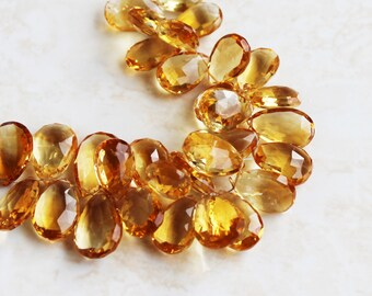 Matched Citrine Gemstone Briolette Faceted Pear 17.5 and 18mm 2 beads