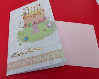 card birthday happy birthday cake candle with Rhinestones, sequins and buttons card lined with envelope