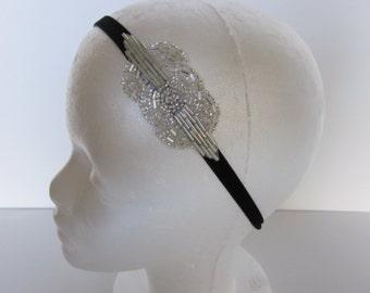 Silver Beaded Headband, Art Deco 1920s Great Gatsby Headpiece Wedding Bridal Hair Accessories, Daisy Buchanan Flapper Headband Costume Party