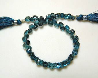 London Blue Topaz Beads, Blue Topaz Onion Briolettes, Faceted Beads, 7mm Beads, 8 Inch Strand, SKU-DSCN5793