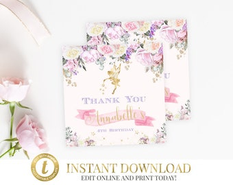 Fairy Favor Tags, Favor Tags, Fairy Party, INSTANT DOWNLOAD, Fairy Gift Tags, Fairy Thank You Tags, Printable, Editable, Thank You Tags Pink