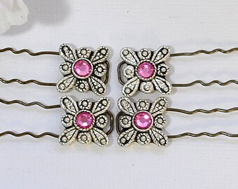 Pink Finishing Pin Set of 4 French Bobbies Pink Hair Pin Small U-Pin Hair Beads