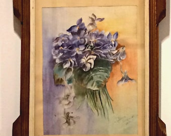 Stunning Antique (more than 100 years) Edna Stewart Floral Watercolor dated 1912