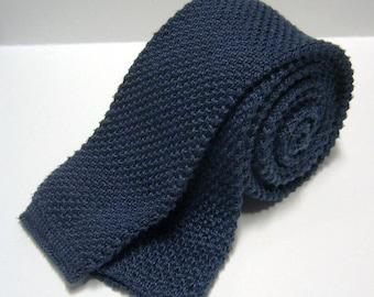 Vintage Cotton Knit Necktie - Royal Blue - Square End Tie