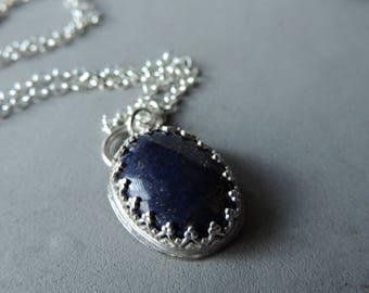 Lapis And Silver Necklace, Silver Bezel Set Gemstone,  Layering Jewelry, Urban Rustic, Handcrafted, Oval Lapis Pendant, Silver With Hearts