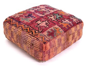 Moroccan Pouf, Floor Cushion, Berber Kilim Pouf Ottoman, Floor Pillow, Foot Stool, Refashioned from a Vintage Berber Rug. PVR015