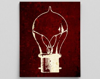 Cool Vintage Home Decor Vintage Light Bulb Print Classroom Decor Gifts for Him Gifts for Her Living Room Home Decor Gifts Red Gold Home Art