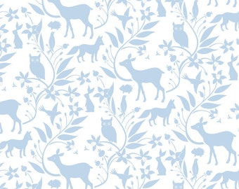 Woodland Creatures Blue - BORN WILD Collection by Ana Davis for Blend Fabrics - 113.108.02.2