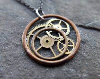 """Gear Pendant """"Giausar"""" Necklace Recycled Mechanical Watch Parts Intricate Sculpture Wearable Art Steampunk Assembly Gershenson"""