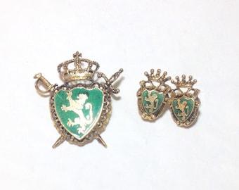 Vintage Lion Crest Brooch and Screwback Earrings