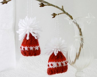 Red Mini Hat Ornaments- Two Knit Miniature Caps- Christmas- Holiday, Doll, Bears, Pets- Red, White- 2 Inches Across