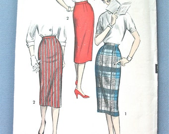 Uncut 1950s Advance 8724 Slim Skirt Pattern Vintage Sewing Pattern Side Zipper Dart Fitted Side Seam Waist 26 Inches Printed Pattern
