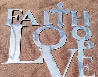 Faith Love Hope unpainted sign