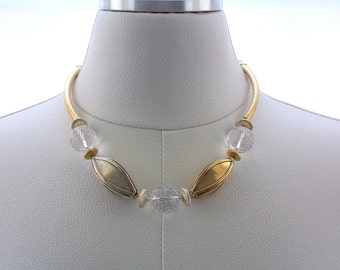 Sterling Silver Necklace, Gold Necklace, Rock Crystal Necklace, Gemstone Necklace, Statement Jewelry, Fashion Necklace