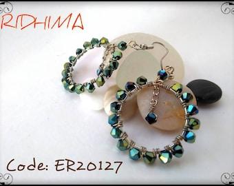 Glass crystals hoop earrings