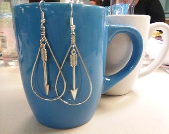 Arrow Earrings - silver tone dangly arrows in teardrop loops/hoops. French Wire
