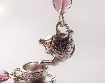 Purple Heart Teapot Earrings, Silver Teapot Earrings, Silver Teacup Earrings, Dangle Earrings, Tea Party Jewelry, Tea Party Gift,