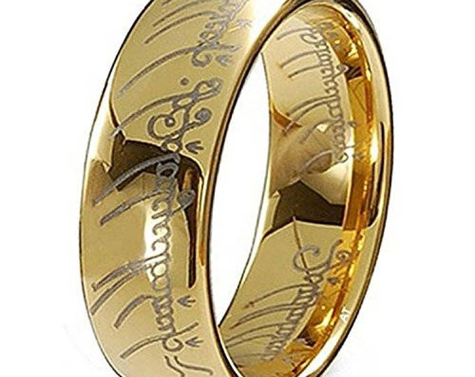 Wedding Band Ring Elvish Script 18K Gold Plated Lord Ring  Style Tungsten Carbide Men & Women Laser-etched - 7mm