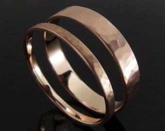 Hammered 14k Rose Gold Wedding Ring Set, Rose Gold Wedding Band Set, Rose Gold Wedding Set, Satin Finish, 4 x 0.8 mm and 2 x 1 mm