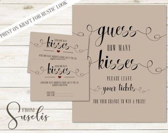 Guess How Many Kisses, Bridal Shower Games, Bridal Shower Hershey Kisses Guessing Game Vintage wedding Rustic, DIGITAL FILES, WS14