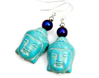 Buddha Earrings Turquoise Carved Zen Asian Flare Blue Gemstone Indian Buddhism Ancient Belief Spiritual Faith Teaching Fashion by Mei Faith