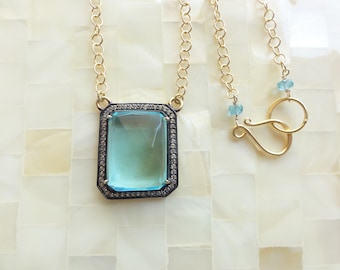 Large Luxurious Faceted Blue Quartz & CZ Pave Vermeil Bezel Rectangle Pendant on Gold Chain Necklace (N1810)