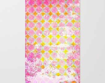 Patterned area rug, pink and yellow living room floor covering, geometric stencil design mat for childrens bedroom decor