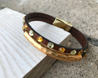 Brown Leather Bracelet with curved tube