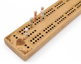 "Cribbage Board - ""The Back Packer"" Model - Cherry Wood - Personalize it with Optional Engraving - Smaller Size, Affordable Price. U.S.A."