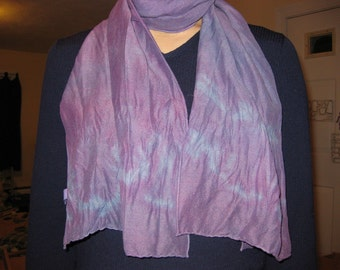 Silk/Wool Blend Naturally Dyed Scarf - Pinkish Purple