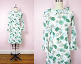 Vintage Floral Dress | 1960s Daisy Print Ruffled Dress L | 60s Mod Hippie Boho Floral Print Dress