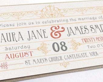 Vintage Art Deco Gatsby Wedding Invitation Ticket SAMPLE